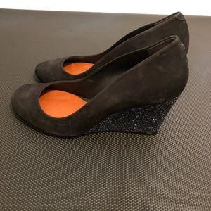 Shutz Black Suede Glitter Wedge Shoes Size 7